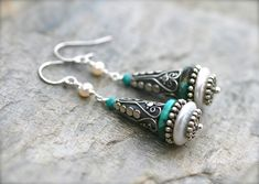 Turquoise Gemstone, White Freshwater Pearl, Bali Sterling Silver Earrings, Large Statement Earrings, Pearl Earrings, Boho Turquoise Earrings by MindyG on Etsy https://www.etsy.com/listing/613954903/turquoise-gemstone-white-freshwater