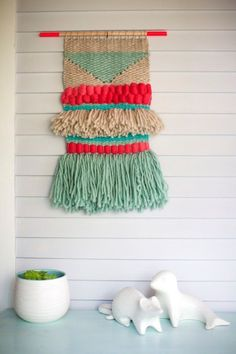 Hot pink and green wall hanging woven art - wall hanging weave, wall hanging yarn