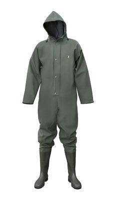 WATERPROOF OVERALL WITH PVC BOOTS Model: 104/K The model is made on strong and resistant PVC/polyester fabric called Plavitex Heavy Duty. The overall is fastened with hidden zip under a storm flap with a hood. The PVC boots have been welded to overall. Thanks to double welded high frequency seams the product protects against rain and wind. The product conforms with the EN ISO 13688 and EN 343 standards.