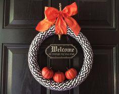 Halloween Wreath, Fall Decor, Pumpkins, Halloween Decor, Welcome Wreath, Orange & Black, Pumpkin Wreath, Pumpkins