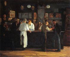 McSorleys Bar-- John #Sloan --1912 -- Oil on CAnvas -- 66.04 x 81.28 cm -- Detroit Institute of the Arts  #Realism #AmericanRealism #Painting