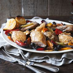 A new way with roast chicken that's informal and fun - olives and roasted peppers give a sweet and salty punch.