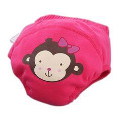 Toddlers Infant Reusable Washable Baby Newborn Flexible Diaper Pants Monkey ROSE