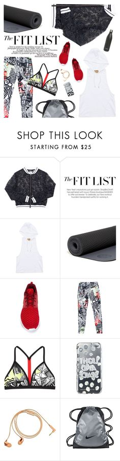 """""""Get Fit: Reebok Graffiti Leggings & Top"""" by mychanel ❤ liked on Polyvore featuring Manduka, NIKE, La Femme, Marc by Marc Jacobs, Happy Plugs and S'well"""