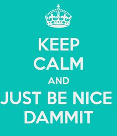 KEEP CALM AND JUST BE NICE  DAMMIT