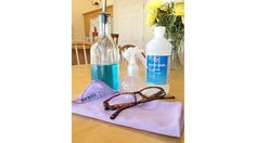 Homemade Eyeglass Cleaner  1 part water  1 part isopropyl alcohol (or witch hazel)  1 drop soap (your choice)  microfiber cloth