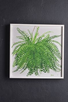 Vintage Fern Painting 1970s Original Art by drowsySwords on Etsy, $45.00