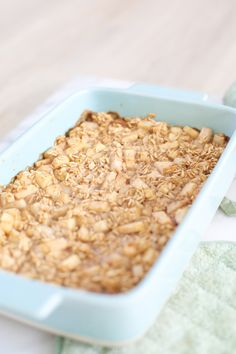 This baked apple oatmeal is easy to make and totally delicious! It's gluten free, keeps well, and kids love it, too. Perfect easy recipe for brunches, parties, pot lucks, or breakfast at home. Click for the recipe.