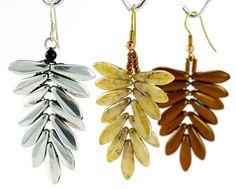 Dagger Fern Earrings with CzechMates Two-Hole Daggers by Diane Fitzgerald. Free PDF. #Seed #Bead #Tutorials