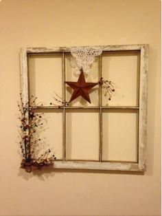 Primative Farm House Decor~Old Window Frame for framing pictures from Italy in