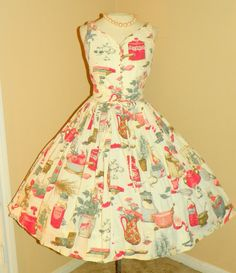 1950's NOVELTY Print Kitsch Serbin Designer Cotton Party Dress Kitchen Jars Mushrooms Herbs And More Couture Vintage 50's Printed Cocktail Bombshell Full Skirt Rare Summer Dress