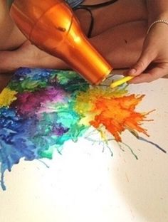 Crayons! Melted with a hairdryer.