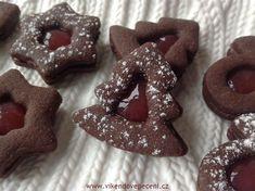 Kakaové linecké s marmeládou - Víkendové pečení Gingerbread Cookies, Cheesecake, Food And Drink, Cupcakes, Christmas, Recipes, Advent, Pizza, Blog
