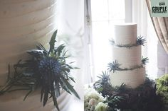 Very elegant minimalist wedding cake garnished with rosemary and thistle. Weddings at The Cliff at Lyons (formerly Village at Lyons) photographed by Couple Photography.
