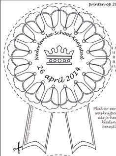 Maatwerk: aangepaste Koningsspelen-pakket medaille / kleurplaat