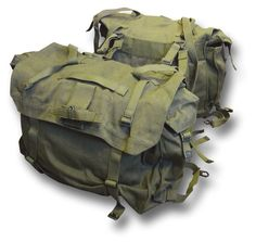 Pair of Canvas Motorcycle Panniers / Saddle Bags, green canvas army packs:Amazon.co.uk:Car & Motorbike