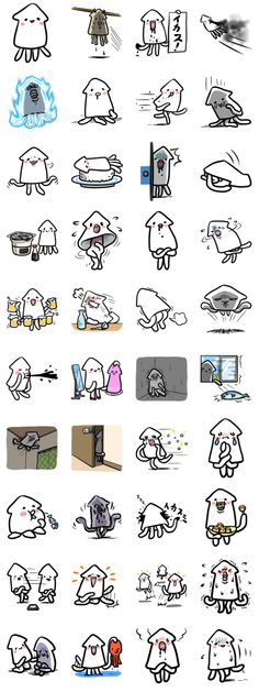 This is a fun delicious squid. IKAE-SAN is a woman. Please enjoy a stimulating conversation with new squid. Kawaii Drawings, Cute Drawings, Squid Drawing, Line Animation, Kawaii Faces, Monster Characters, Mascot Design, Simple Illustration, Cute Doodles