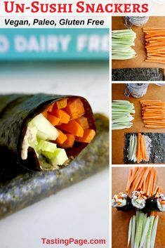 Un-sushi snackers are a healthy grain free, dairy free treat that can tide you over between meals. Or you can load up your seaweed with lots of ingredients for a full vegan or paleo meal. Vegan Dinner Recipes, Vegan Dinners, Paleo Recipes, Whole Food Recipes, Ketogenic Recipes, Delicious Recipes, Free Recipes, Snack Recipes, Dairy Free Snacks