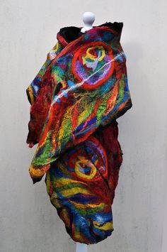 Felted scarf shawl silk wool nuno felt by AleksandrabWiniarska, $105.00