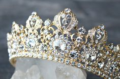 Wedding Crown, Full Bridal Crown, Swarovski Crystal Wedding Crown, BRIANNA Bridal Diadem, Crystal Wedding Tiara, Gold Tiara, Bridal Tiara by EdenLuxeBridal on Etsy