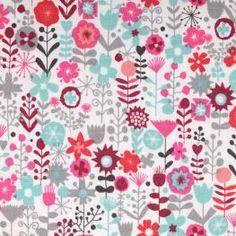 Tissu Cats flowers x50cm - Rose