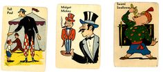 vintage old maid cards circus theme Circus Peanuts, Printable Vintage, Circus Theme, Vintage Cards, Maid, Board Games, Jewelry Design, Comics, Illustration