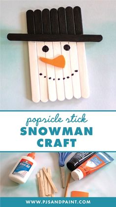 Popsicle Stick Snowman Craft - Pjs and Paint - Easy Crafts for Kids Popsicle Stick Christmas Crafts, Popsicle Crafts, Christmas Ornament Crafts, Snowman Crafts, Popsicle Sticks, Popcicle Stick Ornaments, Popsicle Stick Snowflake, Holiday Crafts For Kids, Crafts For Kids To Make
