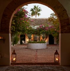 The courtyard of Hacienda de San Rafael at dusk.