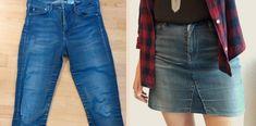 Votre jeans préféré est troué? Transformez-le en jupe! Promis, pas besoin d'être une experte de la machine à coudre pour se lancer.