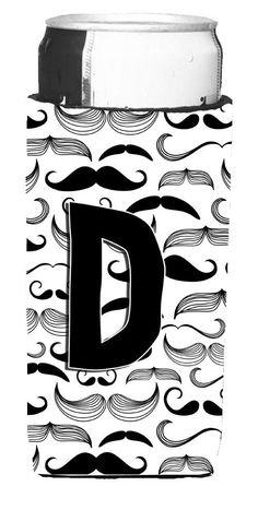 Letter D Moustache Initial Ultra Beverage Insulators for slim cans CJ2009-DMUK