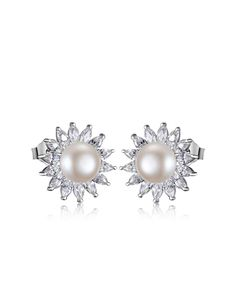 #AdoreWe #VIPme (VIPSHOP Global) BRI.R❤️Designer Accessories 2016 White Fresh Water Pearl Silver Stud Earrings - AdoreWe.com