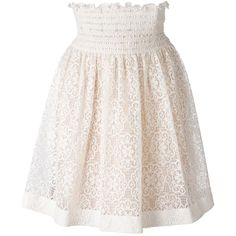 Red Valentino elasticated waistband lace skirt ($348) ❤ liked on Polyvore featuring skirts, elastic waistband skirt, lacy skirt, knee length lace skirt, pink skirt and lace skirt