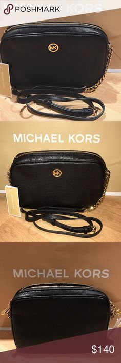 "Michael Kors Fulton Crossbody (AUTHENTIC) ""Michael Kors Large E/W Fulton Crossbody"" in BLACK. Brand new never used with tags. 100% authentic. Reasonable offers accepted, no low-balling please!                                                     100% pebble leather                                                             Gold-tone hardware zipper and chains                             9.75""W X 6.5""H X 2""D.                                                  Adjustable strap: 23.5""-25.5""…"