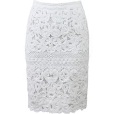 Ermanno Scervino Lace Pencil Skirt ($1,655) ❤ liked on Polyvore featuring skirts, white skirt, white knee length skirt, white scalloped skirt, scallop hem skirt and scalloped skirt