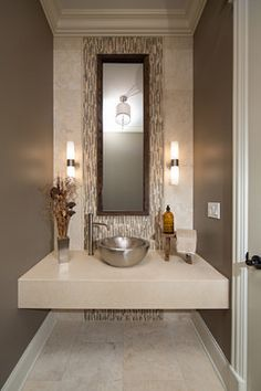 Modern Contemporary Powder Room With Travertine Tile contemporary-powder-room