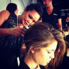 TRESemmé Stylist, Jeanie, Backstage at the Rebecca Minkoff Runway Show — in New York, New York.