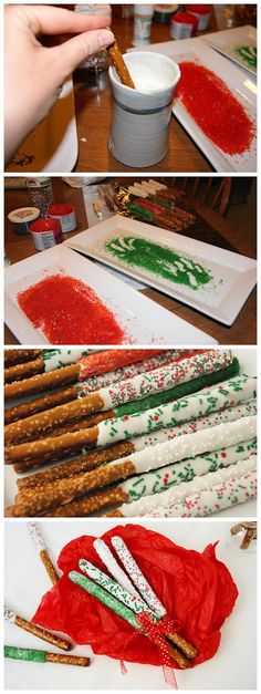 White chocolate dipped pretzels sprinkled in Christmas! Cute gift wrap too Grinch Christmas Party, Christmas Pretzels, Christmas Gifts, Christmas Cookies, Chocolate Dipped Pretzel Rods, White Chocolate Bark, Pretzel Dip, Candy Melts, Holiday Treats
