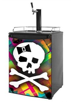 Kegerator Skin - Rainbow Plaid Skull (fits medium sized dorm fridge and kegerators) by wallthat. $66.58. NO STICKY MESS - Leaves no sticky residue when removed.. 1 Piece Skin - Measures 28.75 inches x 41 inches. READ PRODUCT DESCRIPTION (refrigerator not included). Made in the U.S.A.. Installation Instructions: Required Tools: Sharp Utility Knife. Our refrigerator skins are made so that one size fits most medium size dorm and keg fridges. This means the skins are sl...