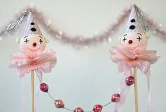 Clown Cake Topper / Spun Cotton Clown / Retro Style by pinkprairies on Etsy https://www.etsy.com/listing/449977086/clown-cake-topper-spun-cotton-clown