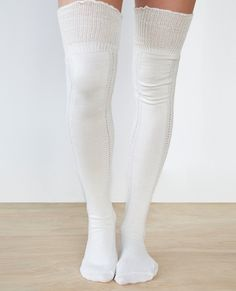 20a5a980d Ruffled Trim Crochet OTK Socks Ruffled Trim Crochet OTK Socks Thigh High  Socks