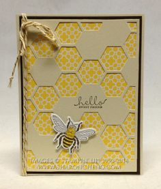 This Hello Sweet Friend card was made using Stampin& Up!& Hexagon Hive Thinlit, Backyard Basics Framelits and Stamp Set and Six-Sided Sampler Stamp Set. Hexagon Cards, Hexagon Quilt, Bee Cards, Stamping Up Cards, Animal Cards, Cards For Friends, Scrapbook Cards, Homemade Cards, Cardmaking