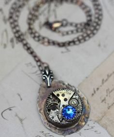 Steampunk Necklace Jewelry Sterling Silver Necklace Unique
