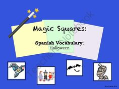 Halloween Spanish Vocabulary Magic Square Puzzle from sra casado on TeachersNotebook.com -  (4 pages)  - This is a fun way for students to practice or review Halloween vocabulary in Spanish. This packet includes a vocabulary list (that you can use as an answer key) and magic squares puzzle.