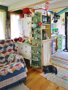"""Their motto perfectly captures the Tiny House Movement: """"Live small to have it all! Live rich with just what you need!"""" kitchen small tiny house Couple Married For 29 Years Builds Their Dream Tiny House All By Hand Tiny House Living, Small Living, Living Spaces, Living Room, Grandma's House, Tiny House Movement, Storybook Cottage, Cute House, Little Houses"""
