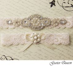 Wedding garter set, Ivory stretch lace Bridal Garter set, Heirloom Rhinestone and Crystal garters