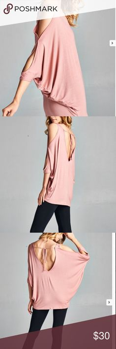 SOON Cold Shoulder Bat Wing Open Tie Back Tunic Cold shoulder bat wing tunic top with open tie back detail . See the last photo to get a better frontal image . This listing is for the mauve color . 95% rayon jersey 5% spandex. Boutique item comes without tags attached . Boutique Tops Tunics