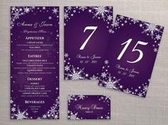 DIY Printable Wedding Table Package Deal Templates   Editable MS Word file   Instant Download   Winter White Snowflakes Dark Purple