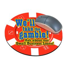 "Standard Shape Mousepad - Casino Chip - Four Color Process, mouse pads, round, natural rubber, 8"" diameter, casino chip."