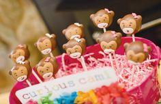 Monkey cake pops for girl party