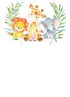 Safari Birthday Party, Animal Birthday, Baby Birthday, Deco Baby Shower, Baby Boy Shower, Baby Animal Drawings, Cute Drawings, Safari Animals, Baby Animals